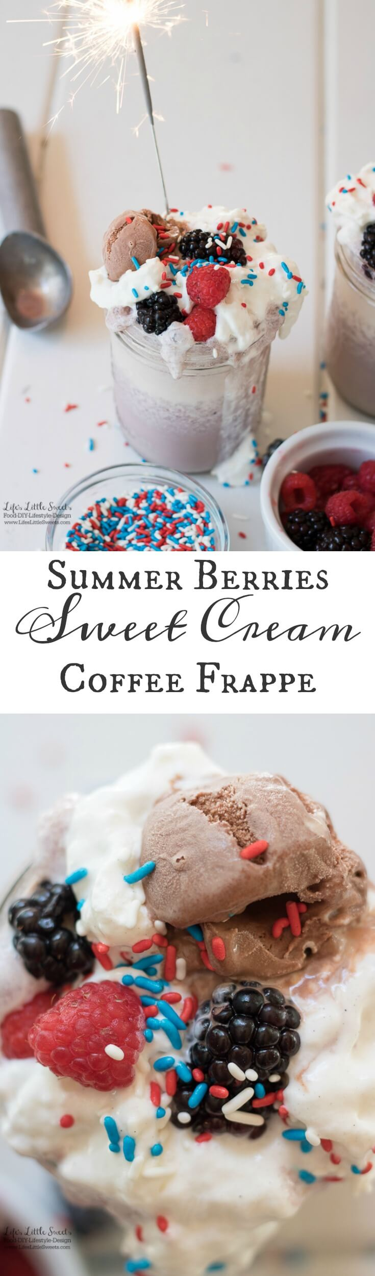 This Summer Berries Sweet Cream Coffee Frappe is the perfect sweet, refreshing and frozen drink for 4th of July or anytime during the Summer! www.lifeslittlesweets.com #ad #collectivebias #FrappeYourWay