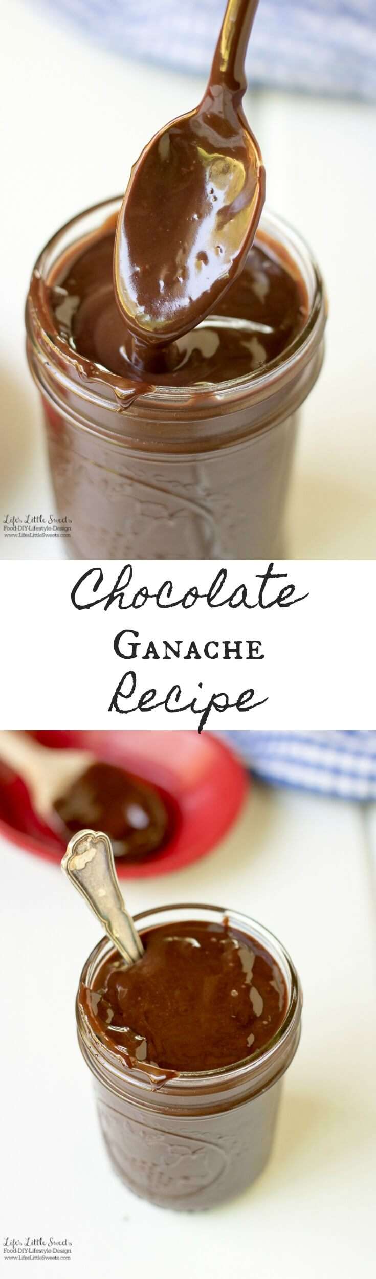 This Chocolate Ganache Recipe is perfect for drizzling over ice cream, cake or your favorite dessert. Only 2 ingredients and a 5 minutes cook time! www.lifeslittlesweets.com