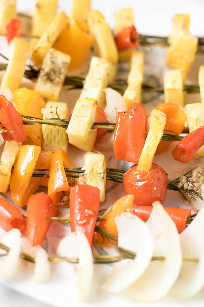 Baked Rosemary Veggie Skewers on SoFabFood:These deliciousBaked Rosemary Vegetable Skewersmade with garden fresh summer vegetables are the perfect way for you to enjoy seasonal produce. You can bring them to any summer gathering or enjoy them as a unique way to serve vegetables at dinner. #SoFabFood #ad