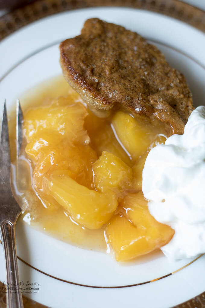 This Peach Cobbler Recipe has fresh, ripe peaches with a crisp, biscuit on top. It's wonderful on it's own or served with vanilla ice cream!