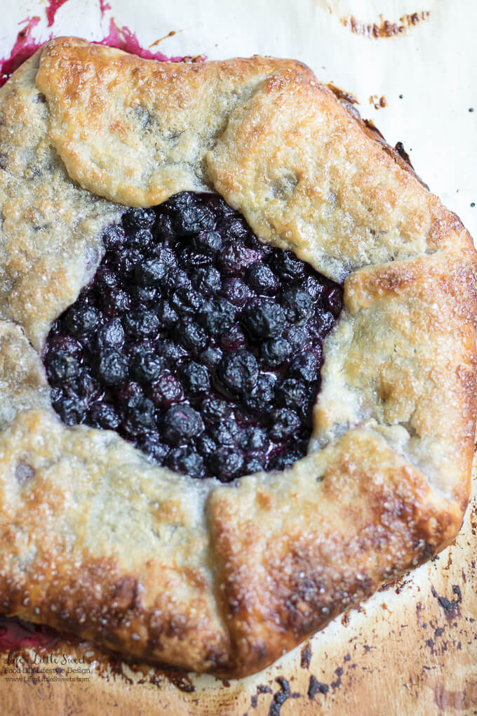 This Blueberry Galette recipe is a great dessert to showcase seasonal, fresh blueberries (you can use frozen out of season too!) encased in a homemade, flakey pie pastry dough. It goes perfectly with a large scoop of vanilla ice cream!