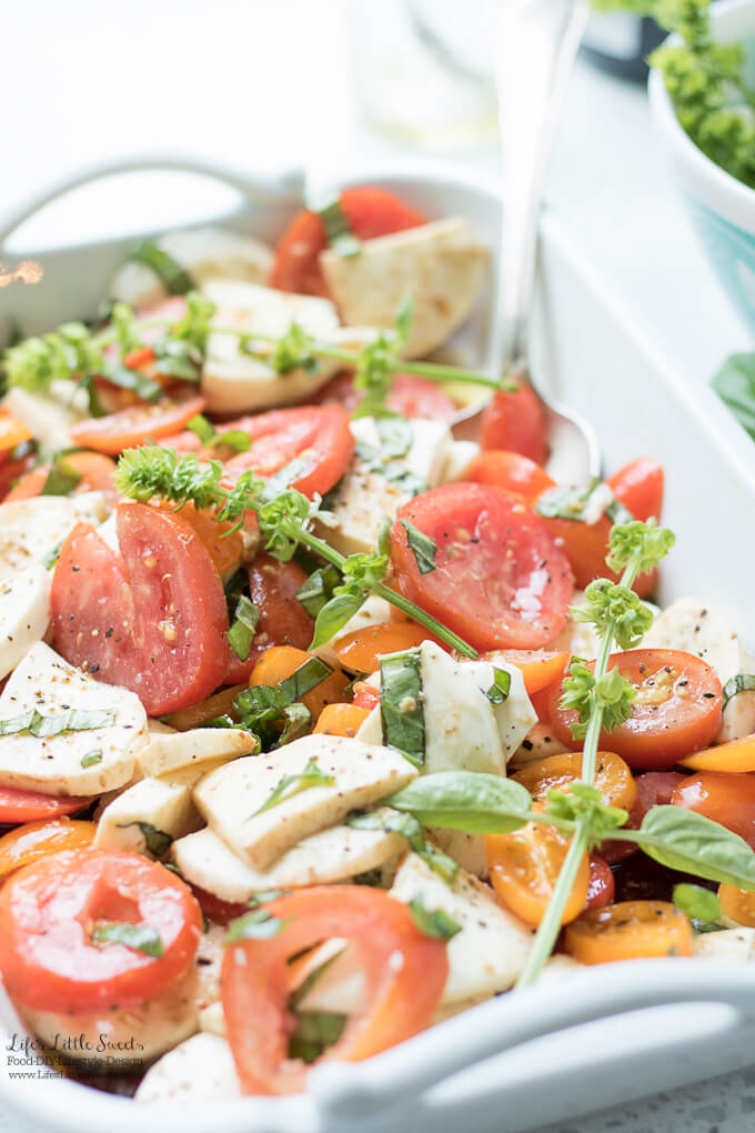 This Tomato Basil Mozzarella Salad is fragrant and full of garden-fresh flavors. The dressing is a simple extra virgin olive oil and balsamic vinaigrette. (gluten-free)