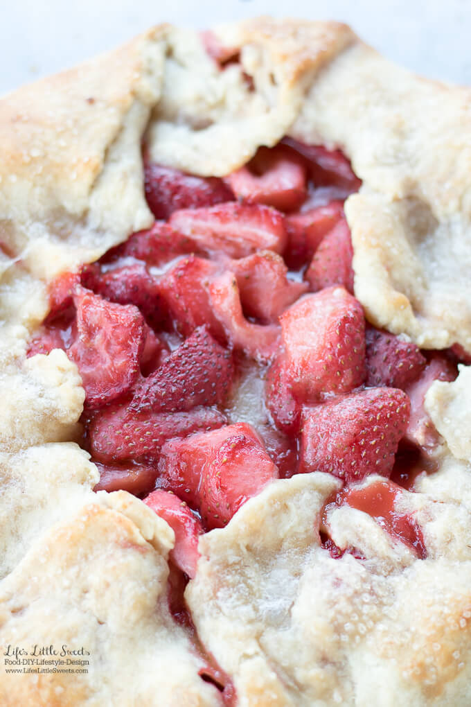 Strawberry Galette - Galette Recipes - Galettes have flaky pie crust with seasonal fresh fruit, like cherries, strawberries, blueberries, peaches and apples, no pie dish required - we have compiled all the Galette Recipes on Life's Little Sweets in one place! #fruit #dessert #homemade #galette #recipes #roundup #strawberries #berries #apples #blueberry #Summer #stonefruit