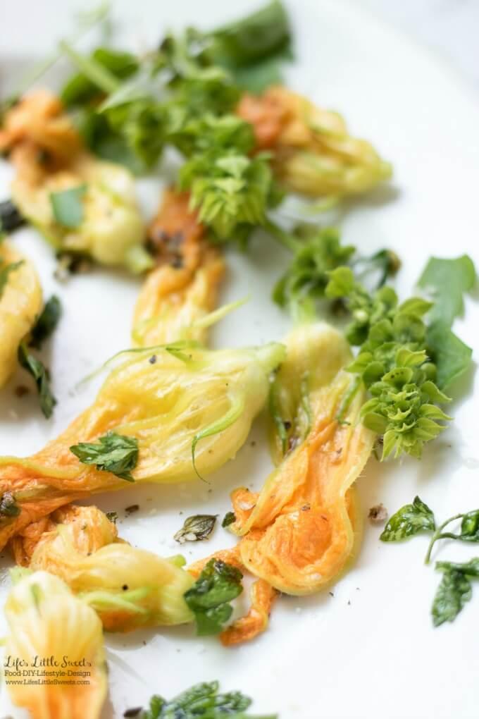 Sautéed Herb Pumpkin Squash Flowers are a delicious, Summer, garden-inspired, vegan dish. (vegan, gluten-free)