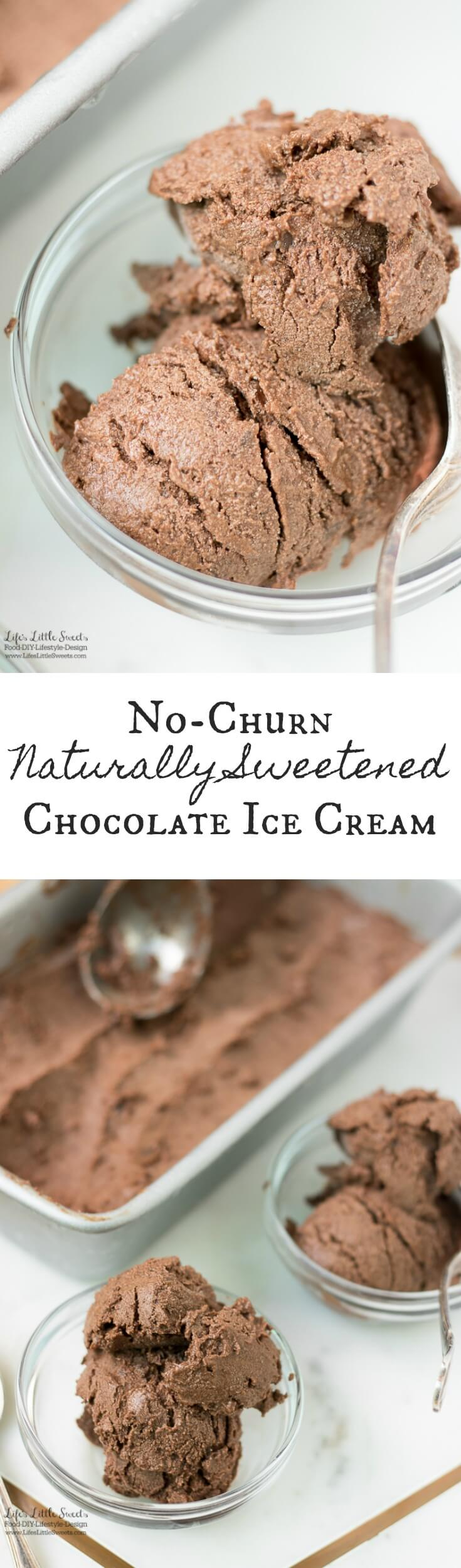 This No-Churn Naturally Sweetened Chocolate Ice Cream is a healthier, chocolate ice cream option that is so tasty and delicious. (no refined sugar, non-dairy, vegan option)