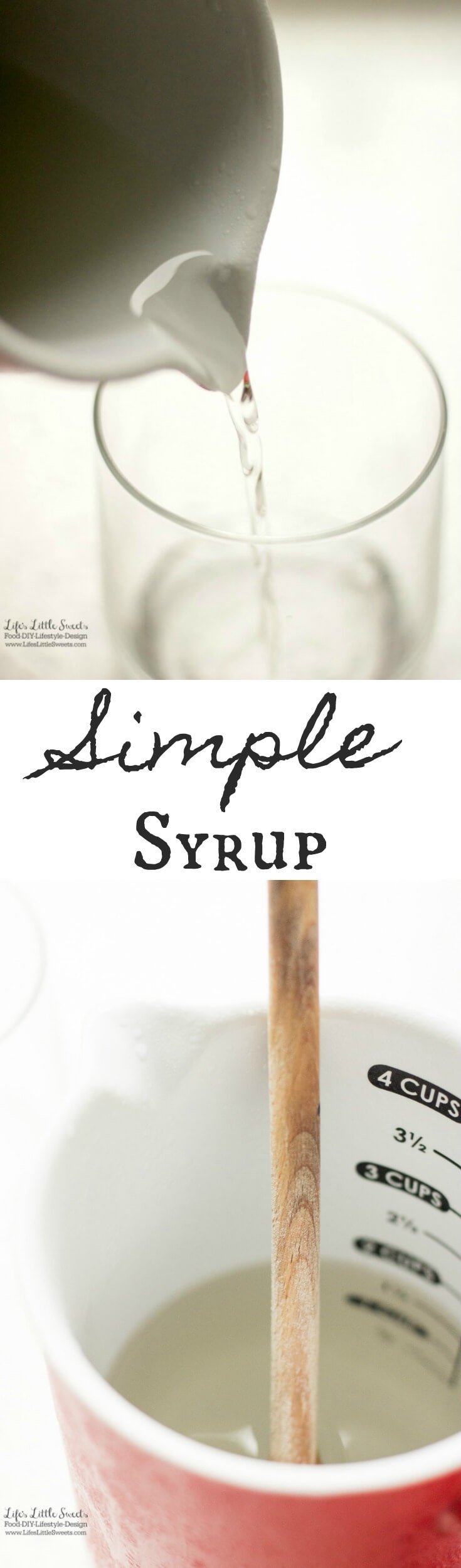 This basic Simple Syrup recipe is a basic ingredient for many drink recipes. It only takes minutes to prepare with 2 ingredients! www.lifeslittlesweets.com