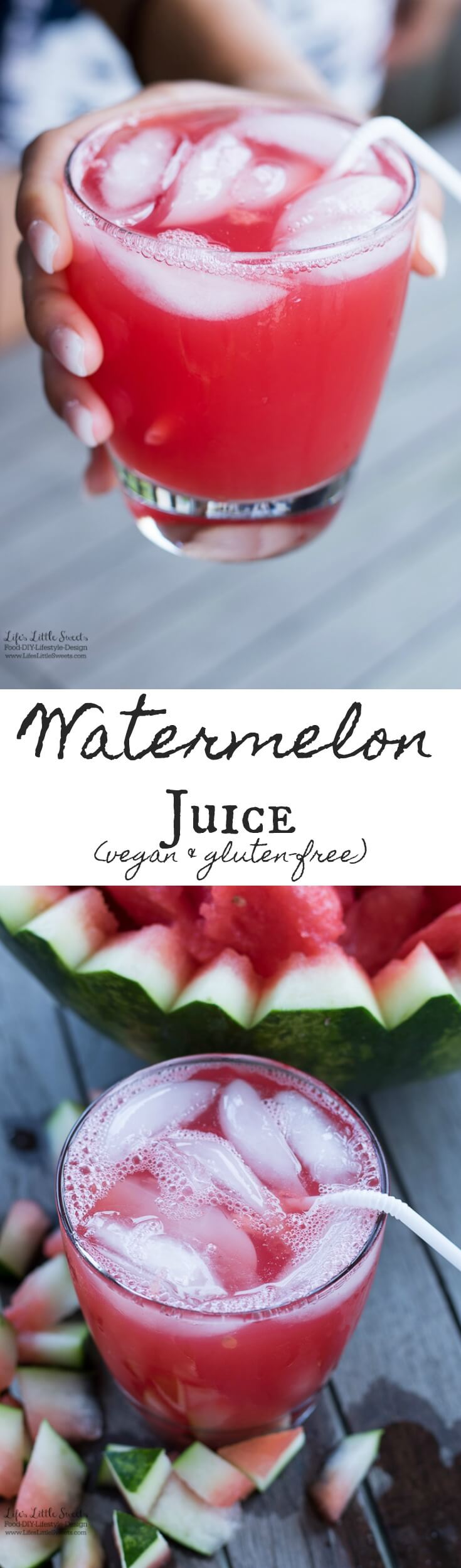 Watermelon Juice is a Summer-y, sweet and hydrating juice. Only 1 ingredient! (vegan, gluten-free) www.lifeslittlesweets.com