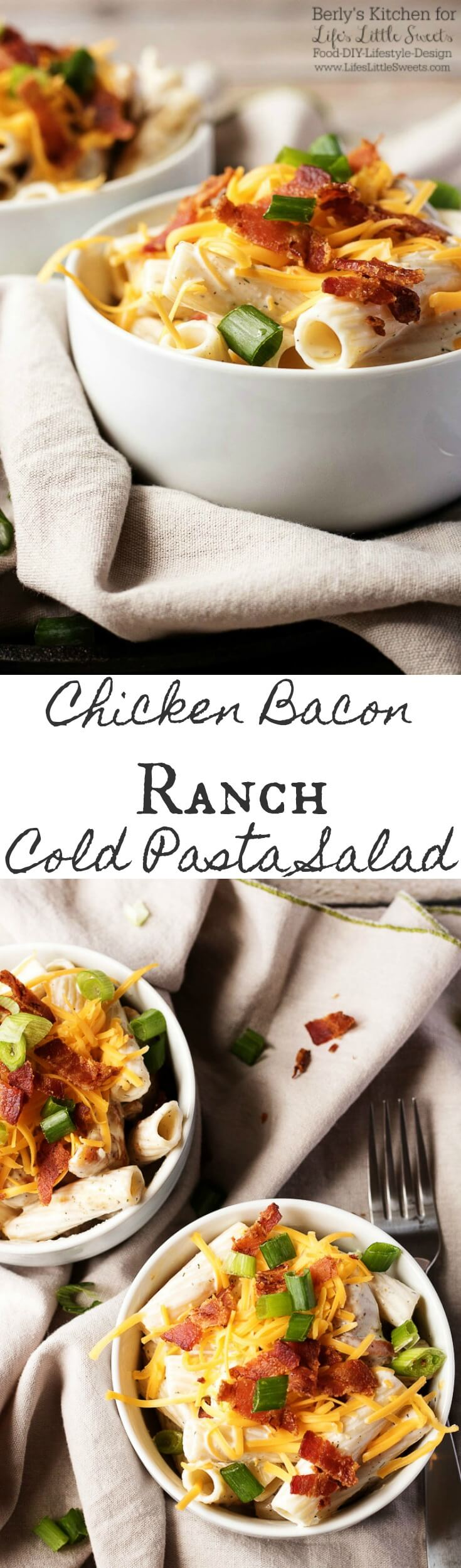 This chicken bacon ranch cold pasta salad is loaded with everything you love and is the perfect dish to satisfy your cravings for a savory meal in a bowl. (4 servings)