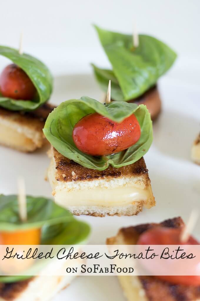 Grilled Cheese Tomato Bites on SoFabFood: These Grilled Cheese Tomato Bites topped with blistered sweet grape tomatoes and fresh basil leaves. This afternoon snack recipe is a great twist on a classic grilled cheese sandwich you can't resist. #SoFabFood #ad