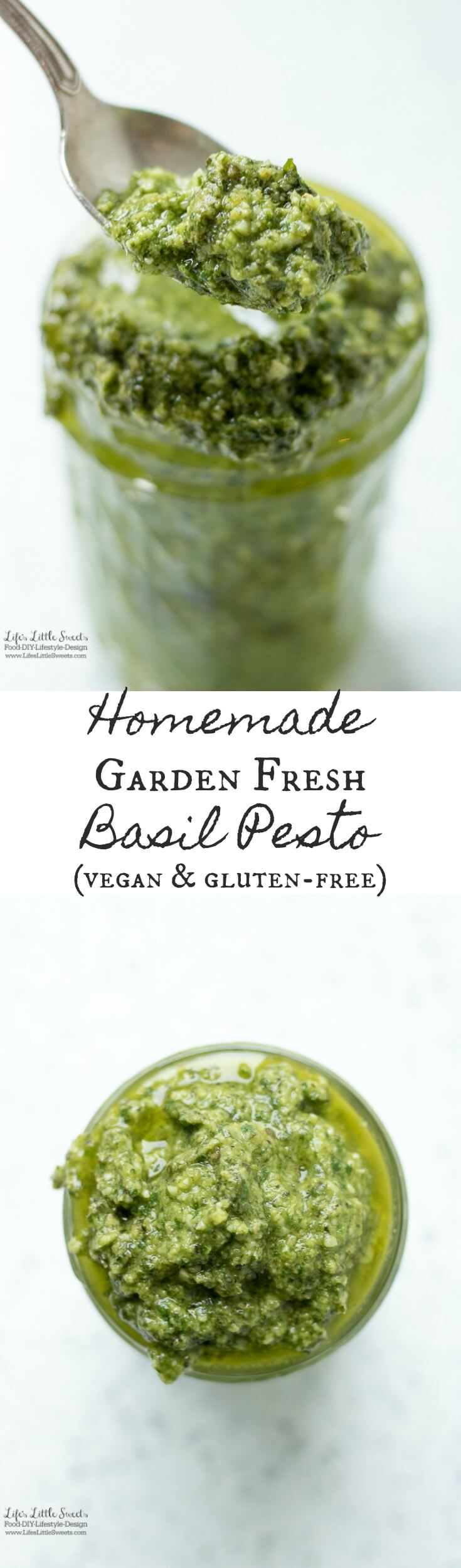 (vegan, gluten-free) Homemade Garden Fresh Basil Pesto has garden fresh flavor, is a great way to use up basil from the garden and goes amazing over pasta or as a marinade for fish or chicken.