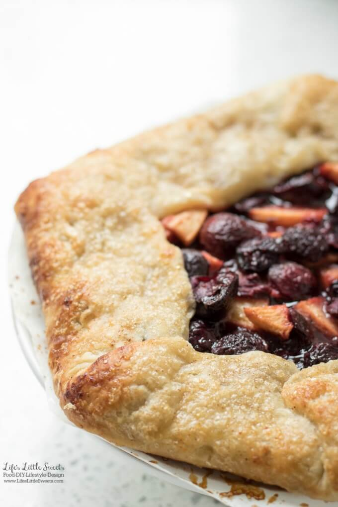 This Cherry Nectarine Galette is sweet and delicious with flaky, homemade pastry crust. It goes perfectly with a large scoop of vanilla ice cream! (6-8 servings)