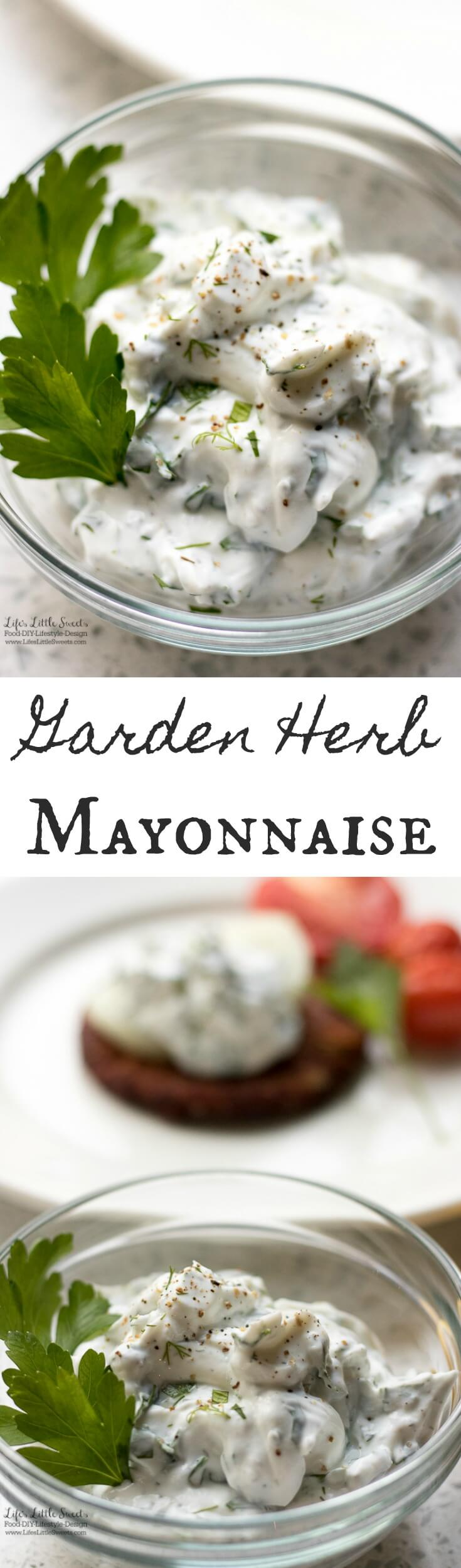 Garden Herb Mayonnaise has garden-fresh flavors and is a great addition to burgers, veggie burgers and fish. It only takes minutes to prepare this tasty condiment.
