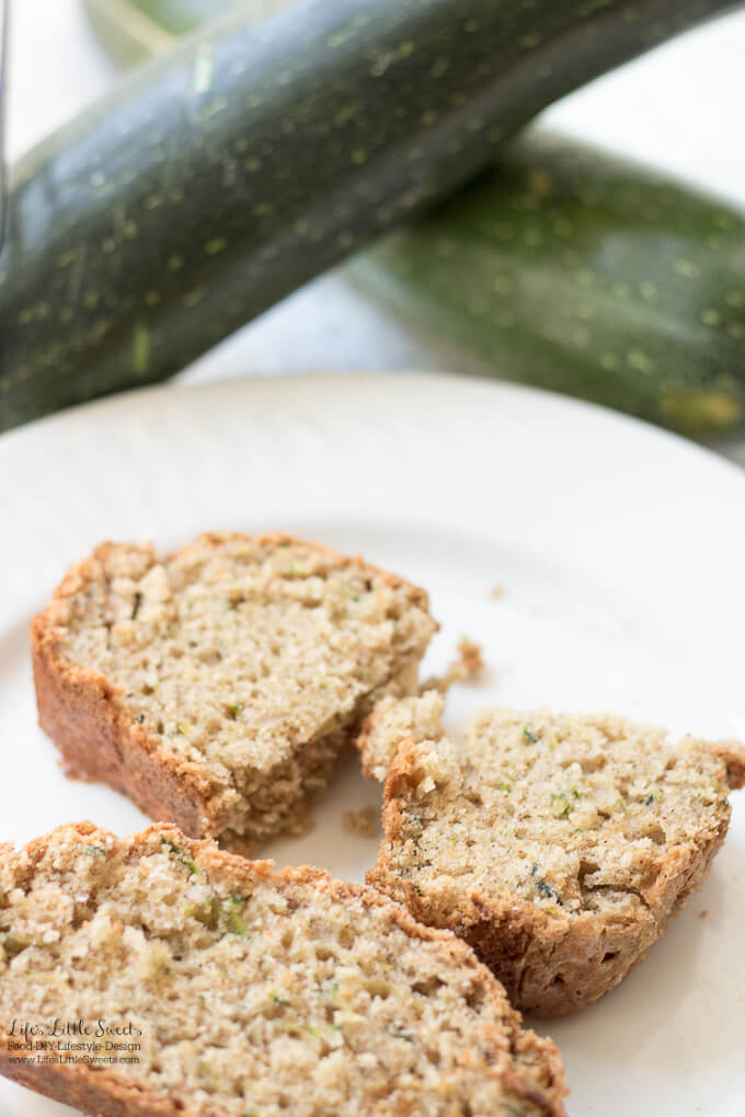 This Homemade Zucchini Bread Recipe is moist and filled with 1 cup of shredded zucchini. This delicious, quick bread has crunchy Demerara sugar on the top and it makes a great snack (makes 1 loaf).