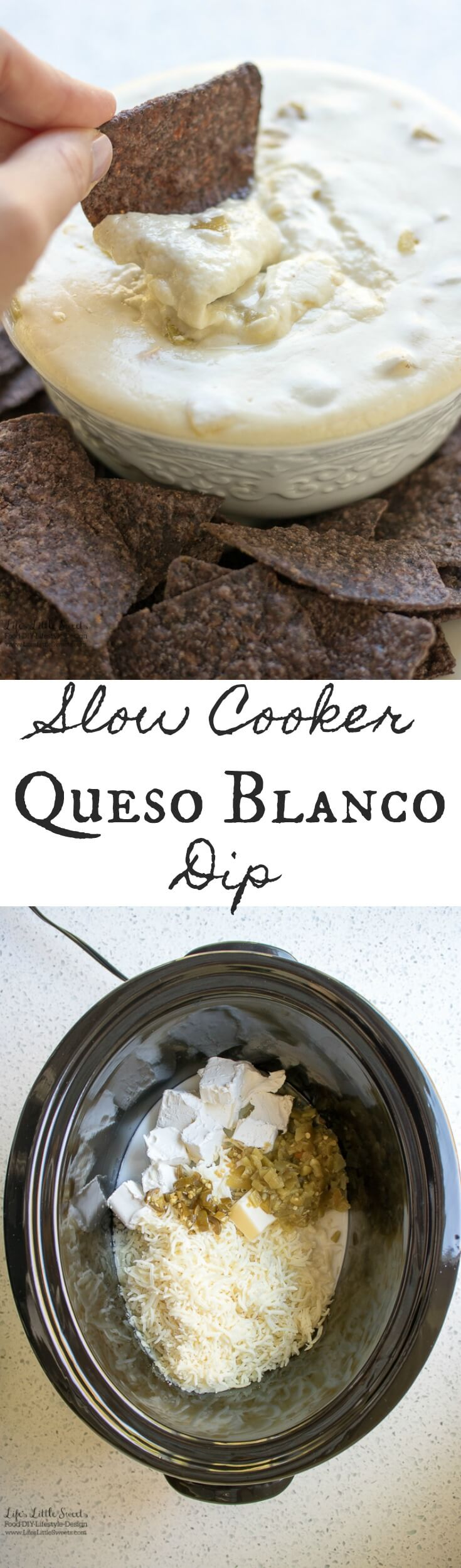 Slow Cooker Queso Blanco Dip is the perfect, savory and satisfying appetizer for any gathering. Enjoy this tasty, cheesy dip with your favorite tortilla chips or pita bread. I show how Scotch-Brite® Scrub Dots Sponges and Dishwand make for easy clean up with your slow cooker! #ScrubWithDots #CollectiveBias #ad