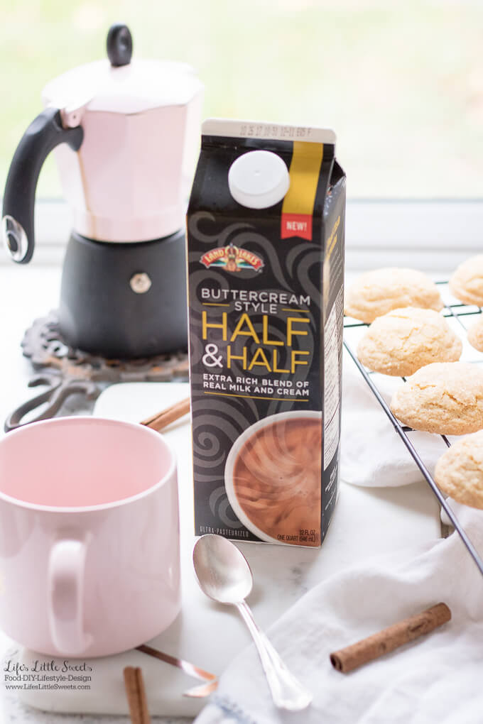 This Indulgent Homemade Snickerdoodle Latte is an indulgent hot, coffee drink made with espresso or coffee and topped with extra creamy & rich New Land O Lakes® Buttercream Style Half & Half. You can garnish with a cocoa cinnamon-sugar mixture, cinnamon sticks and a drizzle of caramel sauce. #IndulgenceDoneRight #CollectiveBias #ad #coffee #drink #hot #espresso #halfandhalf #creamy #espressodrink #coffeedrink