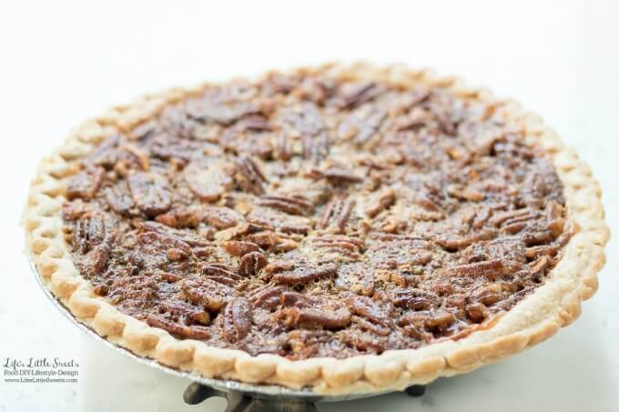 This Easy Pecan Pie Recipe is a sweet, delicious, classic pie recipe - perfect for the Thanksgiving table or any dessert table. You can take a shortcut using a pre-made, deep dish pie crust and enjoy a sweet homemade pie filling. It goes great with a hot cup of coffee or tea. (makes 8 slices) #pecanpie #pecans #pecan #dessert #Thanksgiving #sweet #pie