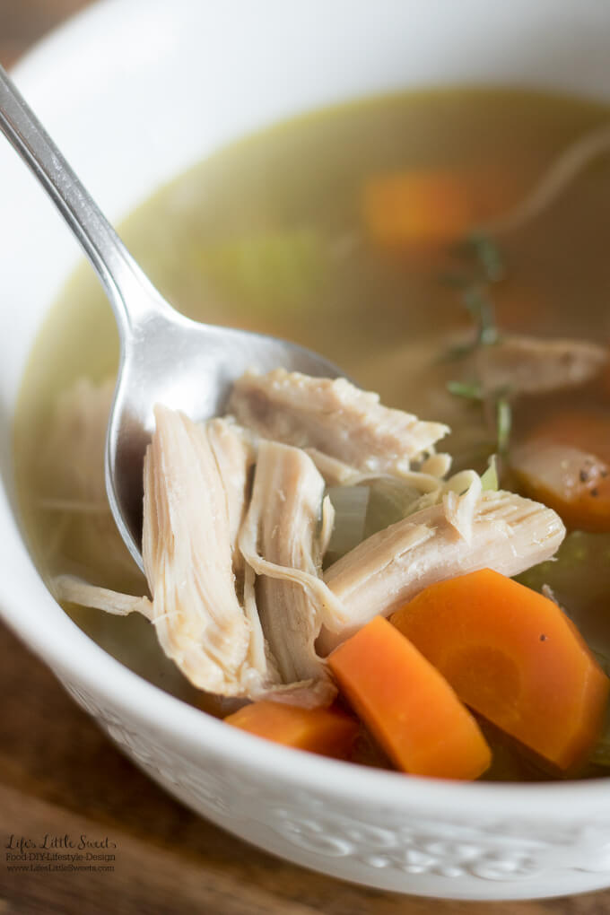 This nourishing Homemade Turkey Soup recipe can be made with leftovers from a Turkey dinner. You can make the broth from turkey leftovers, just add some veggies and turkey meat and you are all set for a delicious and savory soup! #thanksgivingleftovers #bonebroth #celery #carrots #soup #turkey #turkeymeat #broth