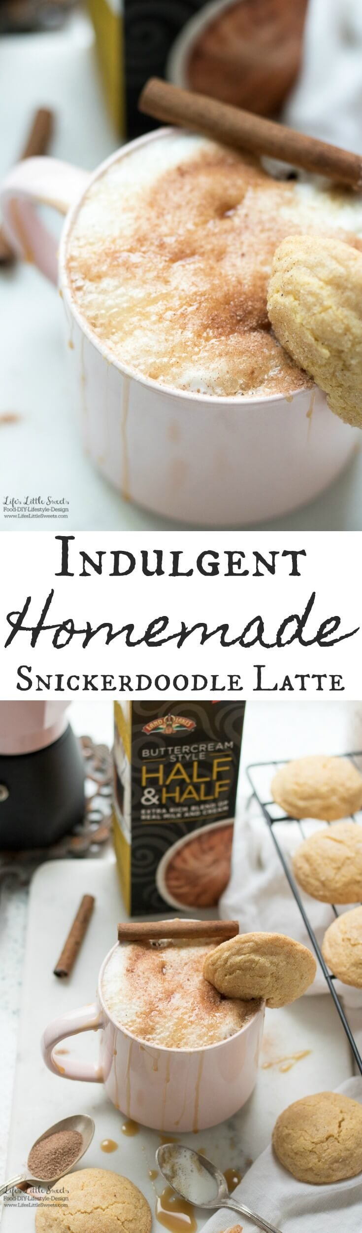 This Indulgent Homemade Snickerdoodle Latte is an indulgent hot, coffee drink made with espresso or coffee and topped with extra creamy & rich New Land O Lakes® Buttercream Style Half & Half. You can garnish with a cocoa cinnamon-sugar mixture, cinnamon sticks and a drizzle of caramel sauce.