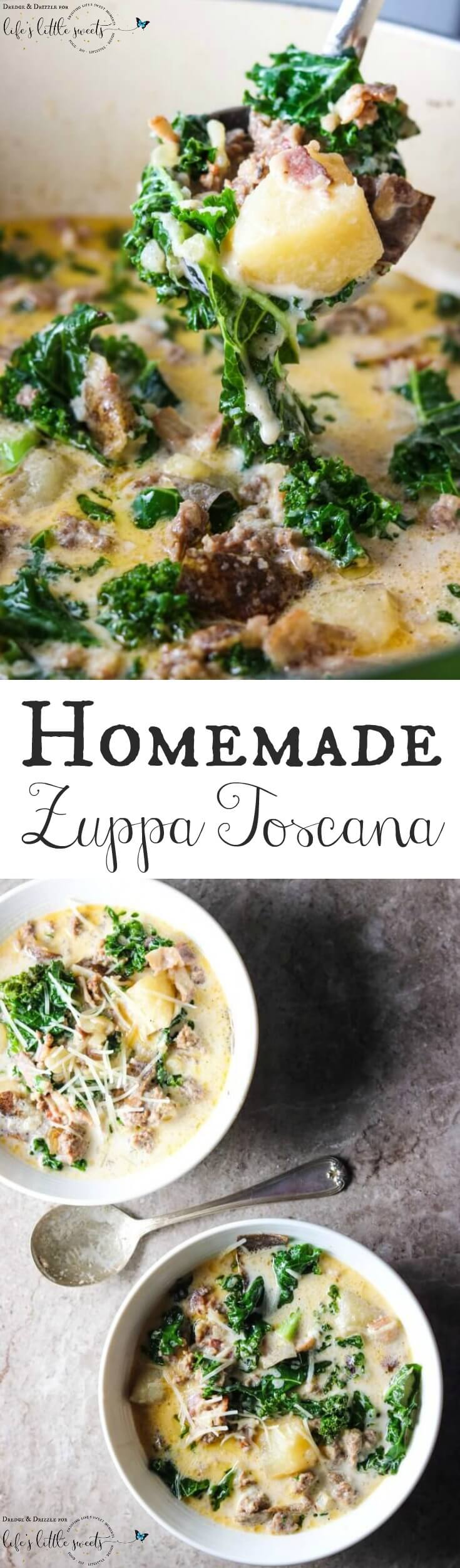 We're knee-deep in soup season and this Homemade Zuppa Toscana is a top contender for my favorite soup! Both because it's tasty and because it's easy to throw together. It could also be considered a good or bad thing that my whole family loves it. The last time I made it, the leftovers were barely a bowlful. #recipe #homemade #recipe #soup #zuppatoscana #copycat