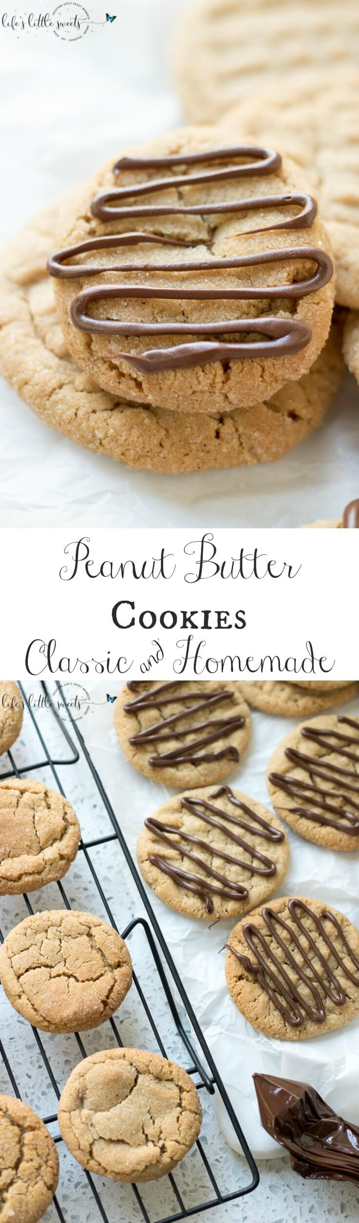 These Peanut Butter Cookies are a classic, homemade peanut butter cookie recipe. They are savory and sweet and can be made crispy or chewy. They taste delicious when drizzled or dipped in chocolate. #peanutbuttercookies #peanutbuter #chocolate #christmascookies #classic #recipe #homemade #easy