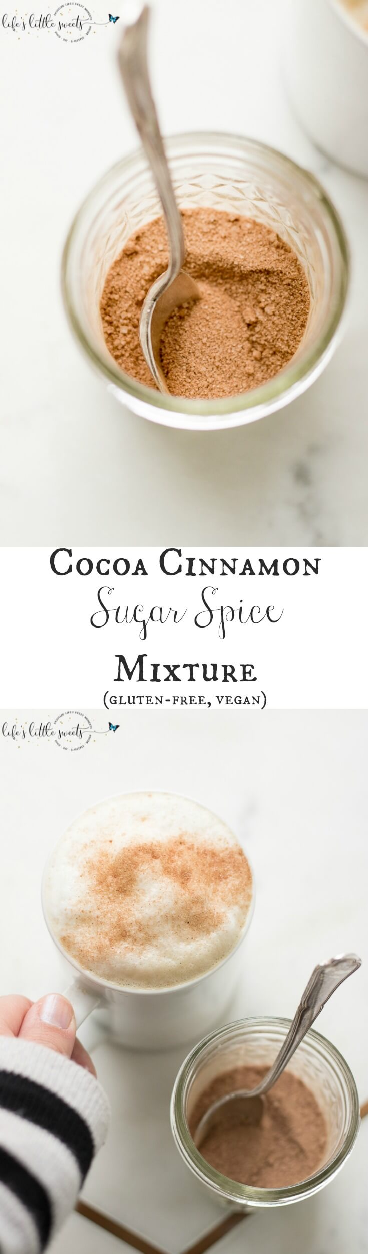 Cocoa Cinnamon Sugar Spice Mixture is the perfect topping for coffee drinks, ice cream or whipped cream. (vegan, gluten-free) #cinnamon #sugar #spice #mixture #cocoa