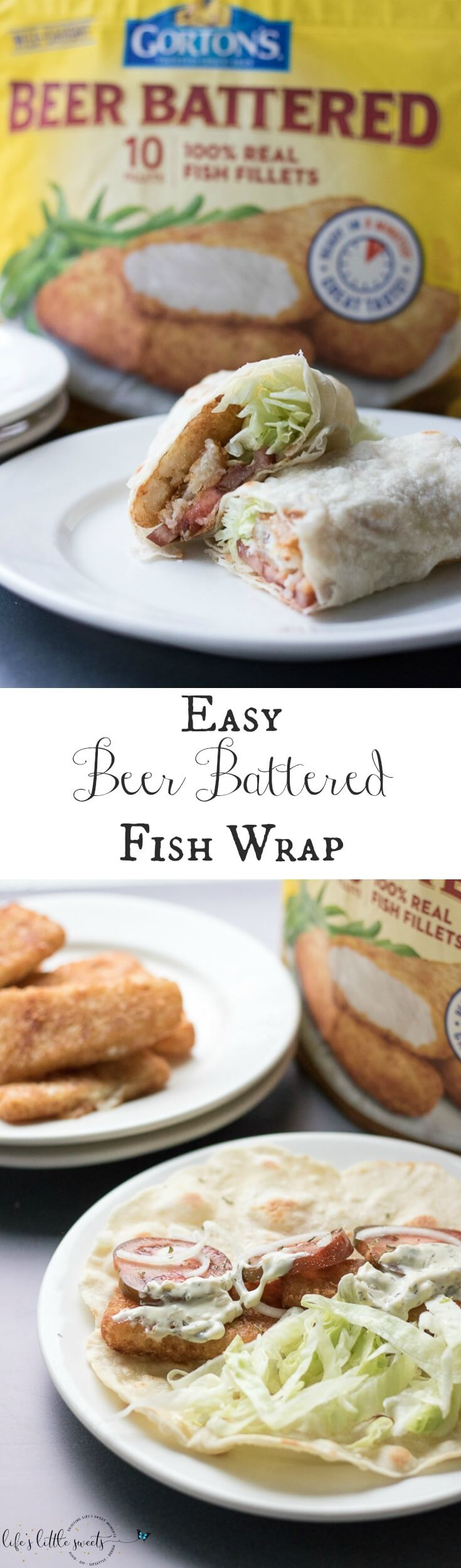 This Easy Beer Battered Fish Wrap has fresh ripe tomatoes, sliced onion, shaved Iceberg lettuce and Gorton's Beer Battered Fish Fillets - all wrapped up in a tortilla wrap. #GortonsMealTime #TrustGortons #CollectiveBias #ad @gortonsseafood