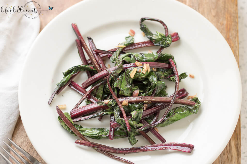 Sautéed Beet Greens are a colorful, savory and delicious addition to any meal. These greens are cooked with olive oil, garlic, salt and pepper. (1-2 servings, vegan, gluten-free) #beets #beetgreens #greens #garlic #oliveoil #Sautéed