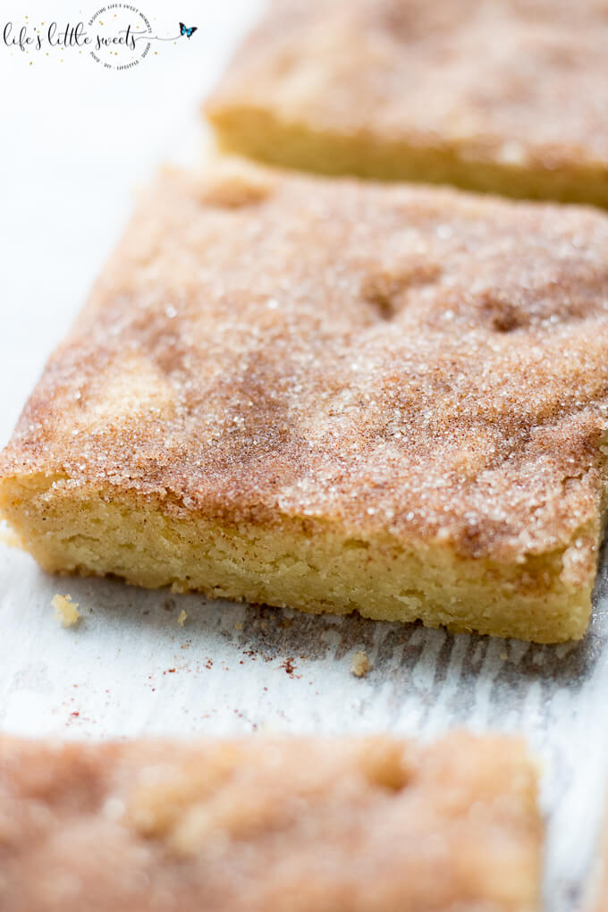 Snickerdoodle Cookie Bars have all the great, sweet taste of Perfect Snickerdoodle Cookies in a easy to prepare cookie bar. Topped with cinnamon sugar mixture, these bars have all the deliciousness of a snickerdoodle cookie. (makes 9 bars) #cookies #bars #cinnamon #snickerdoodles #snickerdoodle #sugar #Saigoncinnamon