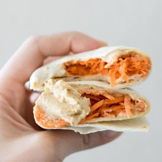 Shredded Carrot Roasted Garlic Hummus Wrap