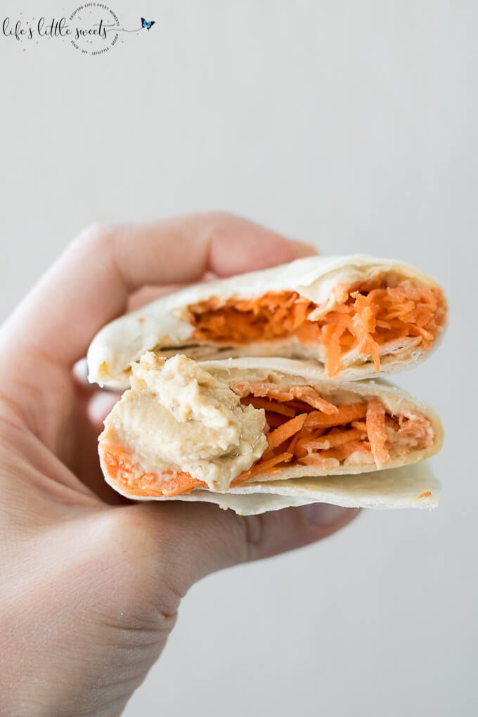 Shredded Carrot Roasted Garlic Hummus Wrap