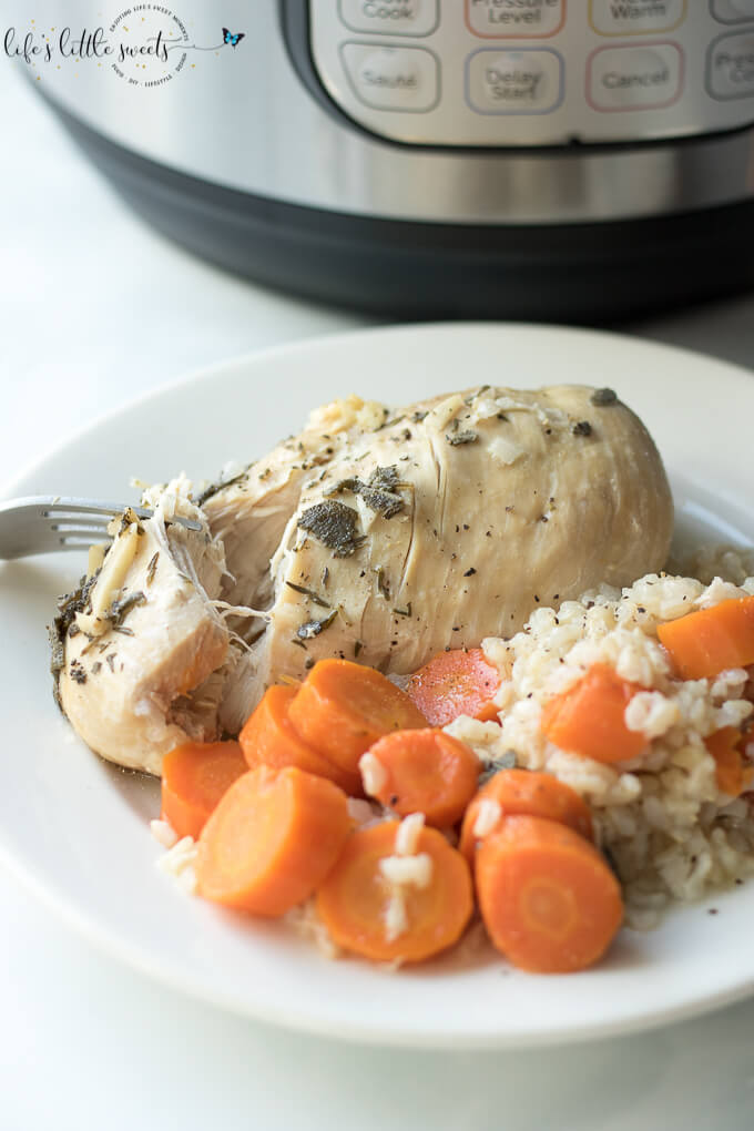 This Instant Pot Chicken Carrots Brown Rice Dinner is a savory, hearty and healthy meal. Made with boneless, skinless chicken (breasts or thighs), garlic, sliced carrots and brown rice with simple seasonings and optional celery. #instantpot #pressurecooker #chicken #rice #brownrice #carrots #celery #garlic #herbs #onion #diner #meal