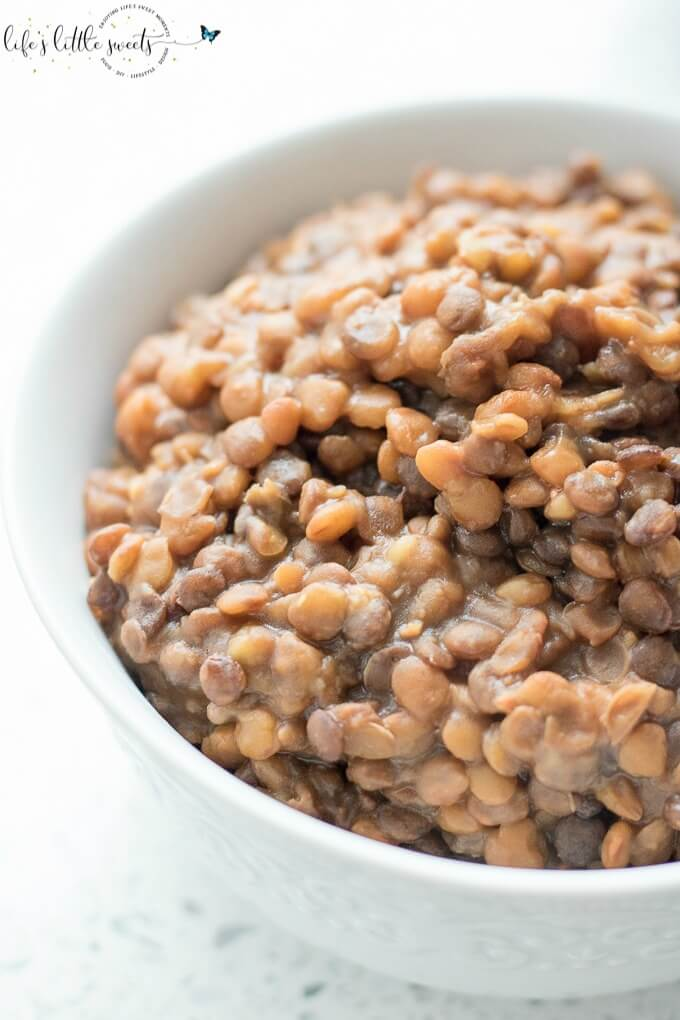 Making Instant Pot Lentils is so easy in our favorite pressure cooker, the Instant Pot. You can use these lentils to top salads, in wraps or as a side with dinner. So easy, healthy and delicious! (vegan option, gluten-free) #vegan #glutenfree #lentils #InstantPot #pressurecooker #recipe