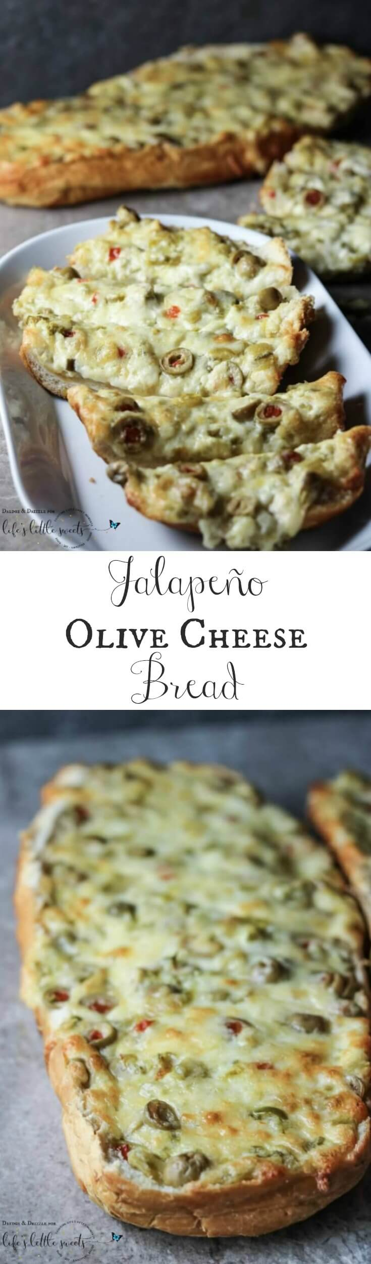 Green olives (which are my favorite), two kinds of cheese, butter, green chiles… and, oh yes, jalapeños. #greenchiles #bread #appetizer #cheese #butter #jalapeños