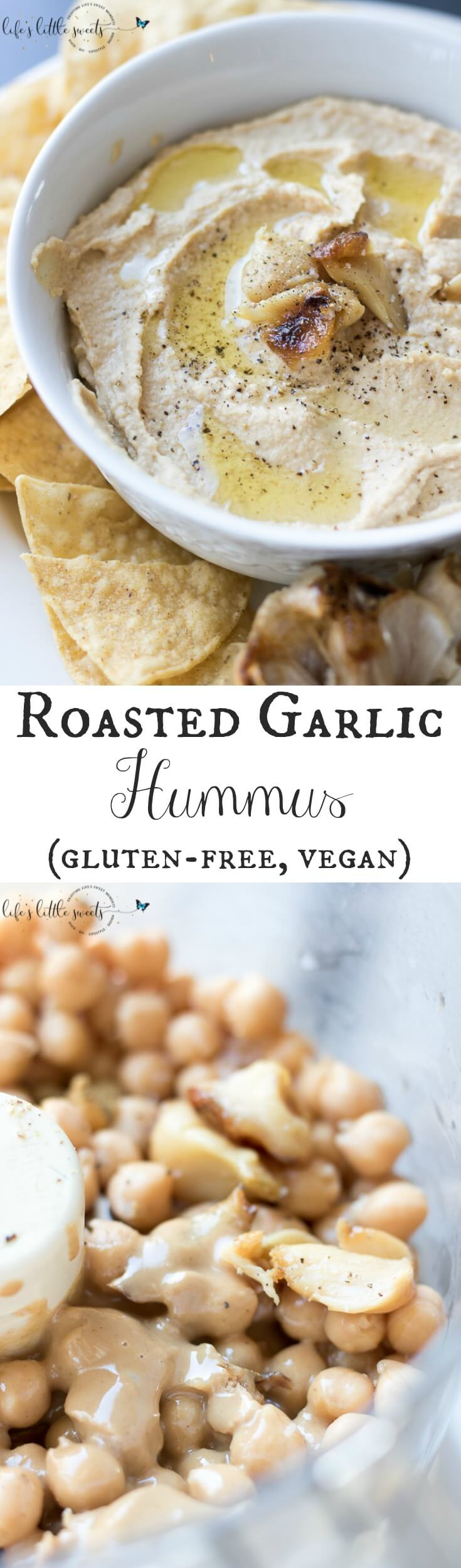 This Roasted Garlic Hummus is easy, full-flavored and delicious, with only a minimum of 6 ingredients! (gluten-free, vegan) #garlic #roasted #Koshersalt #blackpepper #cumin #tahini #appetizer #vegan #glutenfree