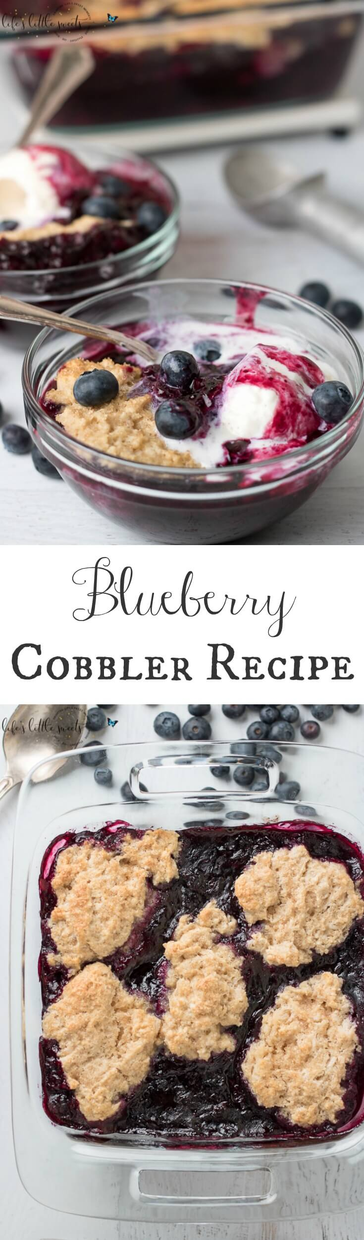 This Blueberry Cobbler has fresh, ripe blueberries with a crisp, biscuit on top. It's spiced with a secret ingredient to bring out the flavor of those blueberries. It's wonderful on it's own or served with vanilla ice cream or whipped cream! #blueberry #cobbler #blueberrycobbler #icecream #blueberries #sweet #dessert