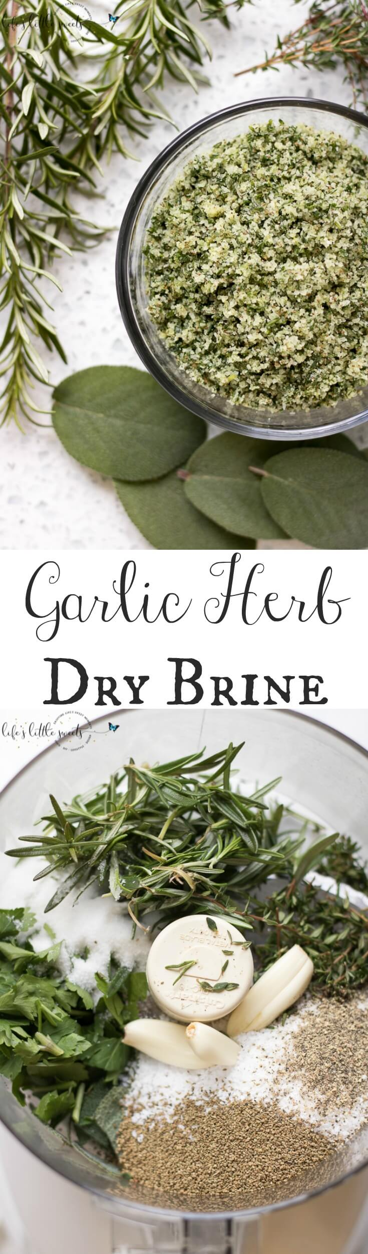 This Garlic Herb Dry Brine makes a turkey or roast delicious, flavorful and savory. A key dry brine recipe to have in your back pocket! #garlic #koshersalt #sage #rosemary #thyme #garlic #celeryseeds #sugar #blackpepper #herb #drybrine