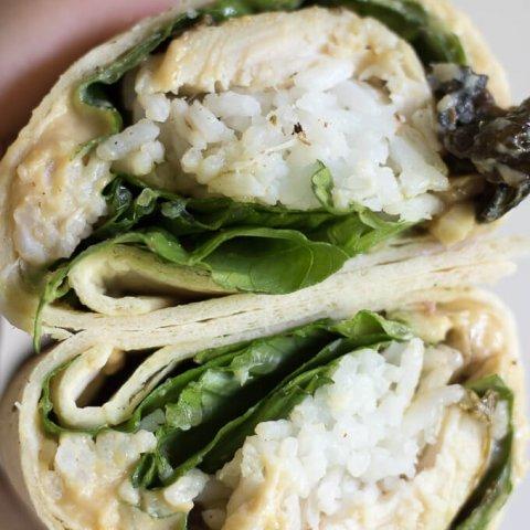 Chicken Rice Hummus Wrap