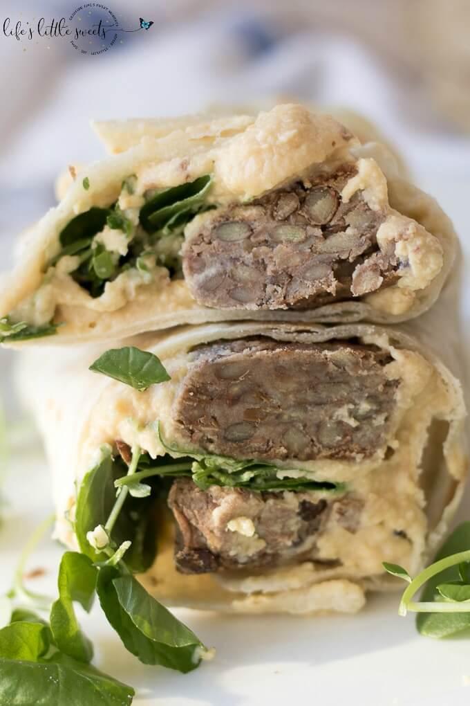 Lentil Burger Wraps and Hummus on SoFabFood
