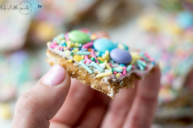Try this Easter Saltine Toffee recipe this Spring! This classic, Saltine Toffee is an simple to make recipe, using simple pantry ingredients, white chocolate, Easter-themed, pastel sprinkles and your favorite candies.