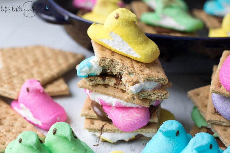 These Peeps S'Mores are the perfect Easter treat! They are a great way to enjoy those classic, favorite Easter marshmallow candies. You can make them in a skillet or in the microwave.