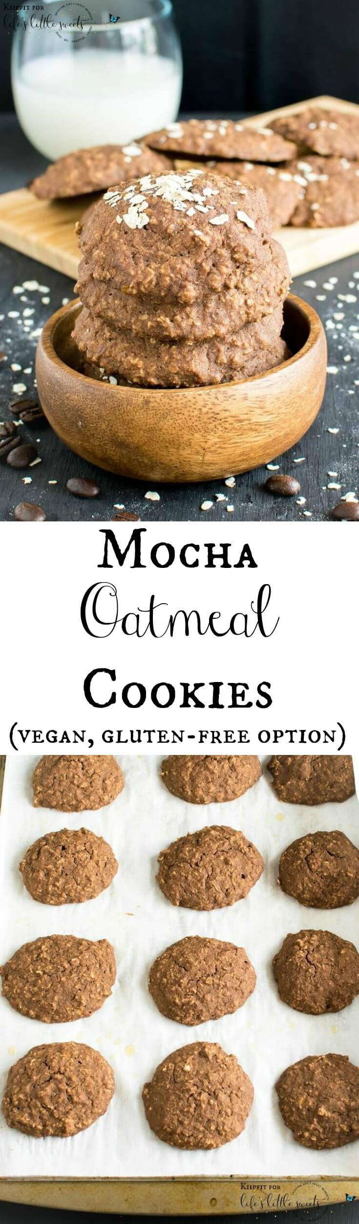 These Mocha Oatmeal Cookies are soft and chewy with a distinct flavor of fresh brewed coffee.  These vegan cookies are easy to bake and heavenly for taste buds especially if you are coffee lover. #mocha #oatmeal #cookies #healthy #vegetarian #recipe #maplesyrup #cocoapowder #brownsugar #dairyfree
