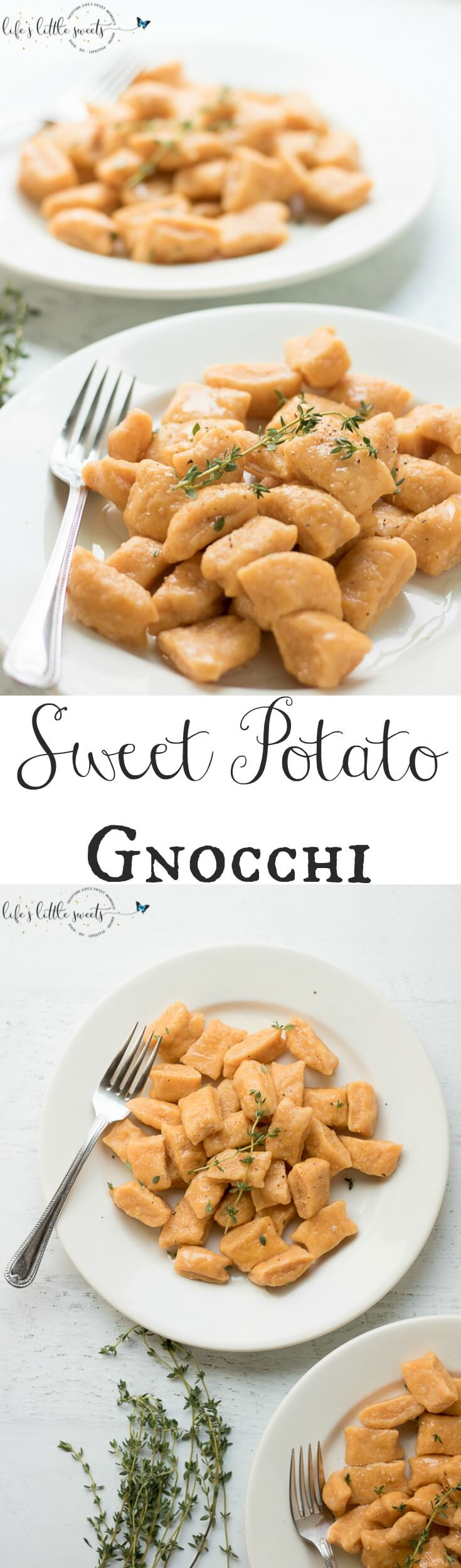 This Sweet Potato Gnocchi is surprisingly easy to put together. There are only 3-4 required ingredients and you can add some fresh herbs, like thyme or parsley for serving. Try this simple, homemade dish for your next meal! (dairy-free, vegetarian) #sweetpotatognocchi #gnocchi #sweetpotatoes #sweetpotato #Italianfood #recipe #homemade #thyme #egg #flour