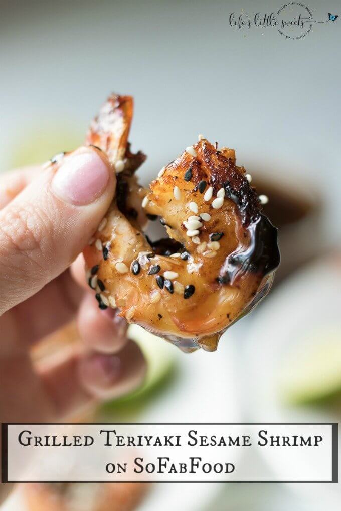 Grilled Teriyaki Sesame Shrimp uses fresh jumbo shrimp and a homemade teriyaki sauce. It's perfect as an appetizer for outdoor entertaining or on its own over rice as a weeknight meal. This shrimp on a stick is finger-licking good! #ad #sofabfood @sofabfood #shrimp #seafood #teriyaki #grilled #asian #food #recipe #bbq