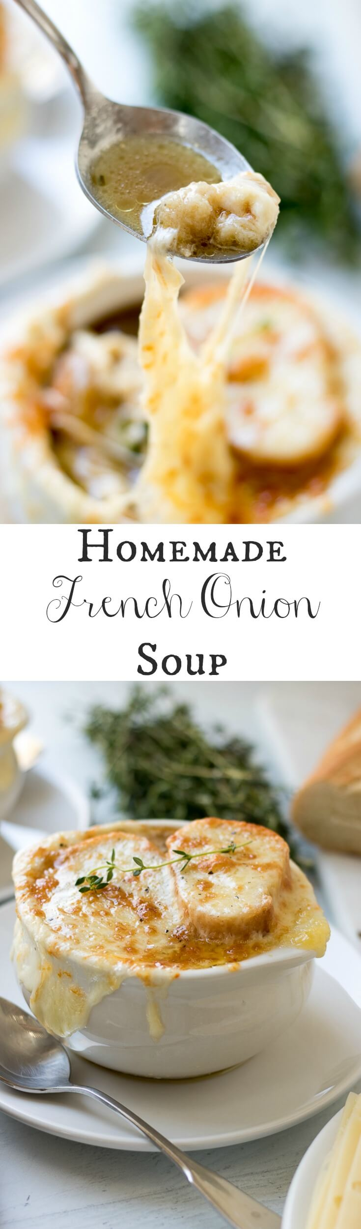This Homemade French Onion Soup recipe has the flavors of a classic French onion soup that you would find at a restaurant, yet, it is easy to prepare in your home kitchen. Caramelized onions in a reduction of white wine and sherry with herbs of thyme and bay leaves in a clear beef broth make this soup delicious. #onions #Frenchonionsoup #cheese #recipe #Frenchbread #homemade #thyme #garlic #Muentser #Swiss