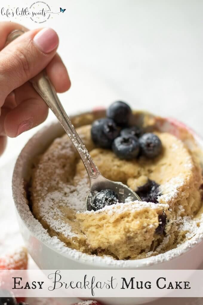 This Easy Breakfast Mug Cake is made with Kodiak Cakes Energy Packed Flapjack and Waffle Mix and topped with raspberries, blackberries, strawberries and blueberries. This is an easy, tasty and satisfying breakfast hack. @kodiakcakes @kodiakcakes #mugcake #cake #mug #berries #breakfast #confectionerssugar #blueberries #strawberries #raspberries #blueberries