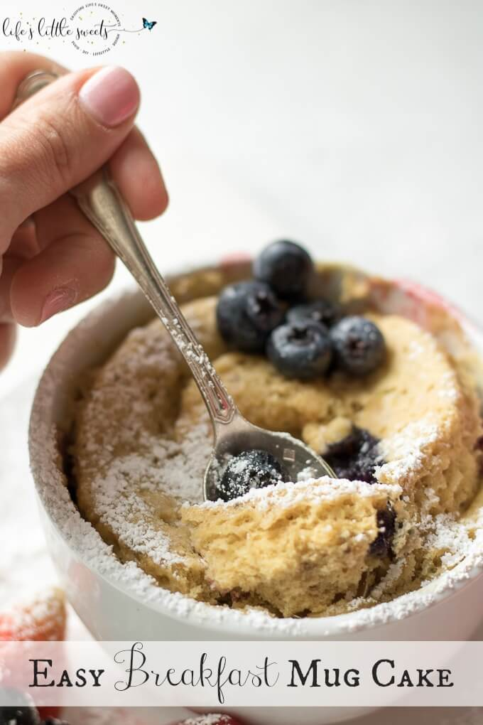 This Easy Breakfast Mug Cake is made with Kodiak Cakes Energy Packed Flapjack and Waffle Mix and topped with raspberries, blackberries, strawberries and blueberries. This is an easy, tasty and satisfying breakfast hack.