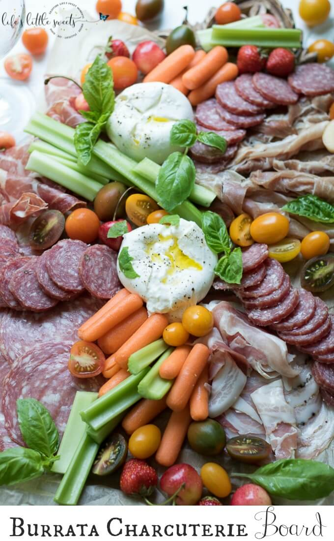 This Burrata Charcuterie Board comes together with Burrata (young Mozzarella) and Charcuterie meats. This appetizer board recipe is easy to put together for entertaining and pairs well with Dreaming Tree Crush, Sauvignon Blanc and Chardonnay wines. #ad @dreamingtreewines #SeedOfAGreatSummer #CollectiveBias #burrata #charcuterie #burrataboard #charcuterieboard #appetizer #veggies #hummus #basil #mozzarella