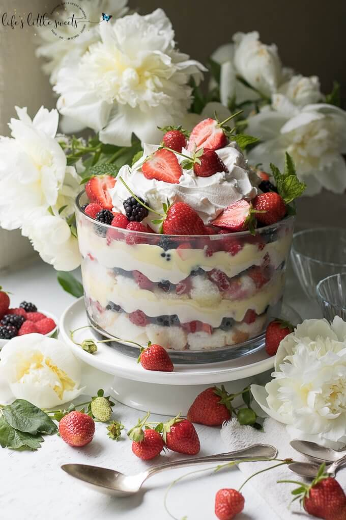 "This Mixed Summer Berry Trifle recipe is a delightful, showstopping and delicious dessert that is ""no-bake"", making it  perfect for those warm weather events and gatherings. #Summer #berry #trifle #pudding #vanilla #angelfood #cake #nobake #strawberries #blackberries #blueberries #Coolwhip #sweet #dessert"