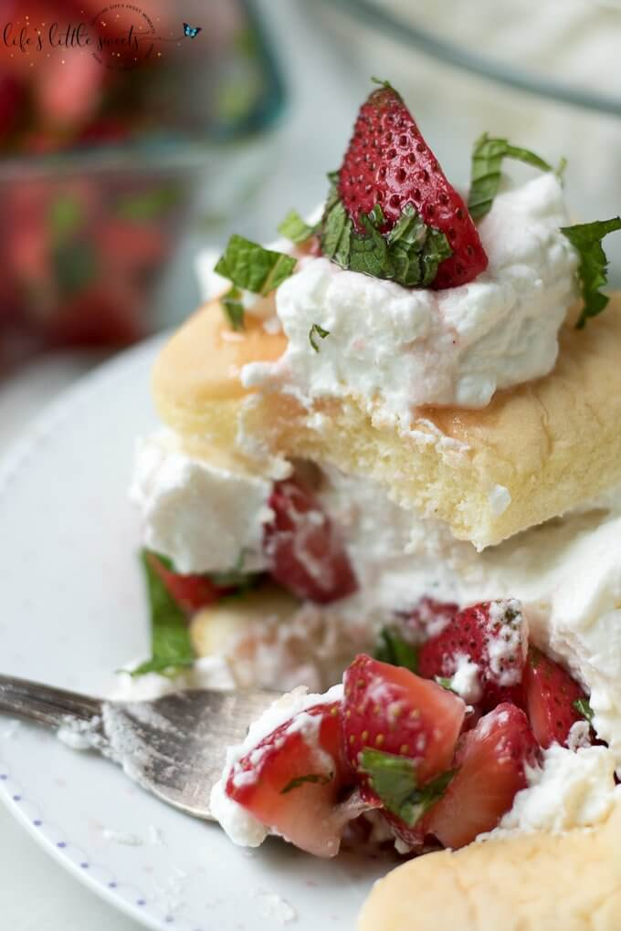 Strawberry Mint Shortcake with Ladyfingers is a no bake, easy to assemble strawberry shortcake recipe with macerated fresh mint and strawberries, homemade vanilla whipped cream and ladyfinger sponge cakes. #ladyfingers #strawberryshortcake #shortcakes #mint #ladyfingers #cake #sugar #dessert #recipe
