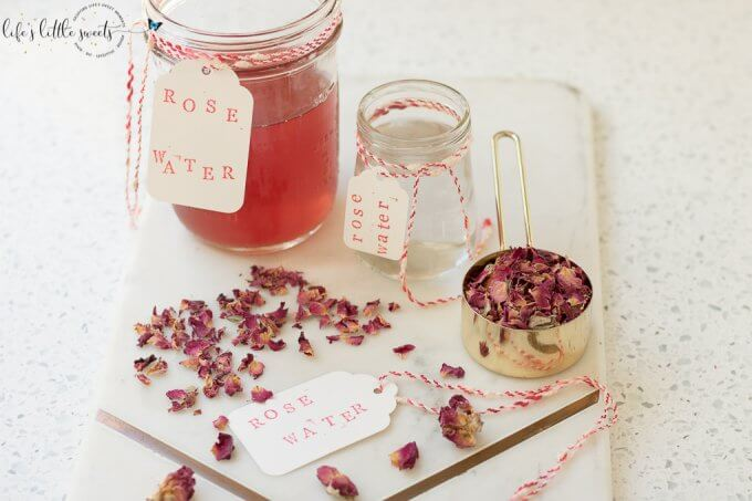 How to Make Rosewater - you can make this beautiful, delicately floral-scented rose water for cooking, beauty products and an infinite number of DIYs. (heat and steam method) #vegan #glutenfree #driedrosepetals #rose #roses #rosewater #tutorial